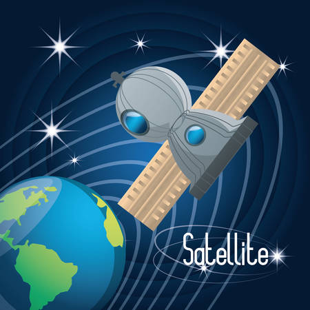 earth planet with technology satellite vector illustration Illustration