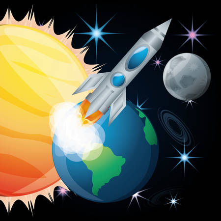 sun and earth with moon and rocket vector illustration