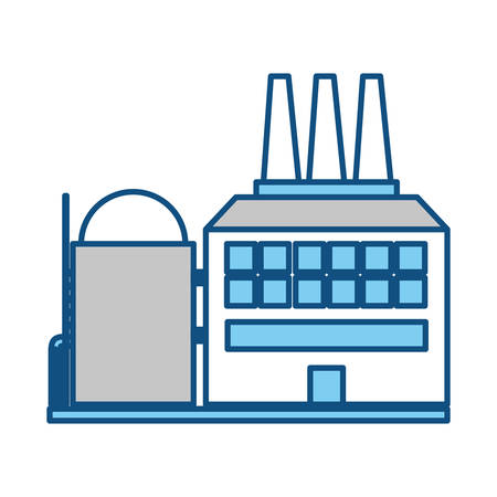 working place: Refinery plant silhouette icon vector illustration graphic design Illustration