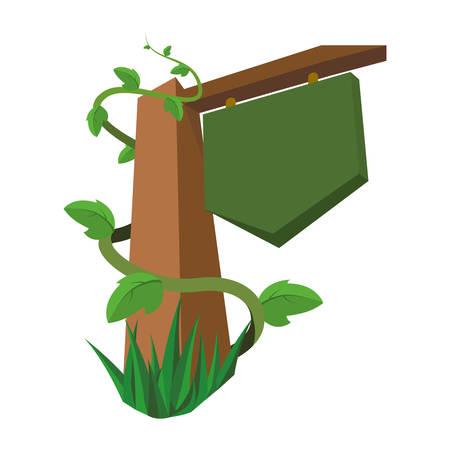 Blank wooden signpost icon vector illustration graphic design Illustration