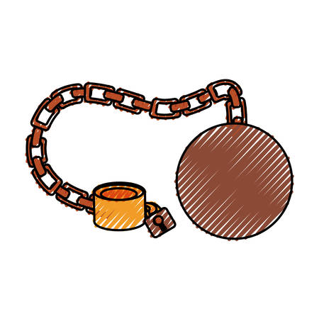 arrested criminal: Slave chain isolated icon vector illustration graphic design