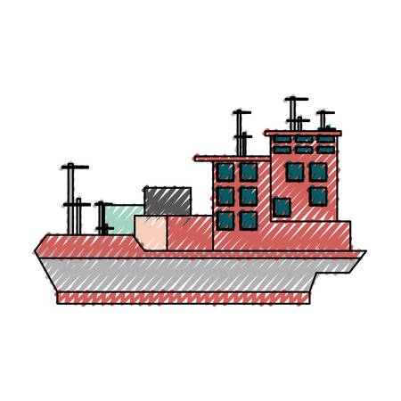 pier: big merchandise ship icon vector illustration graphic design Illustration