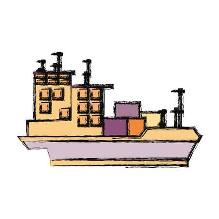 Big merchandise ship icon vector illustration graphic design