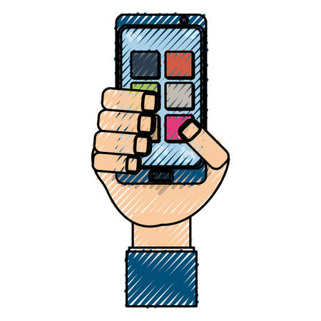 using smartphone: isolated hand smartphone cellphone icon vector illustration graphic design