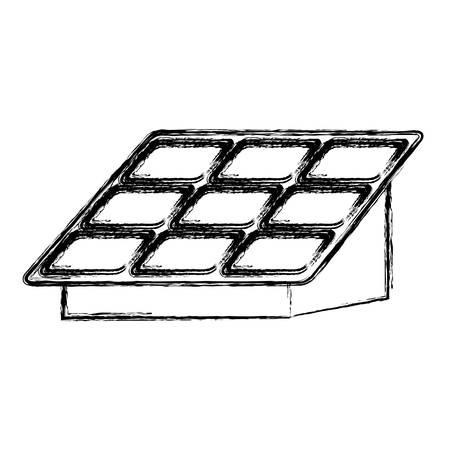 격리 된 태양 전지 패널 아이콘 벡터 일러스트 그래픽 디자인