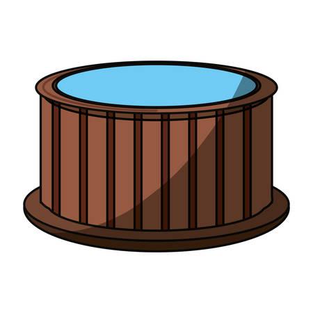 masseur: Wooden jacuzzi spa icon vector illustration graphic design