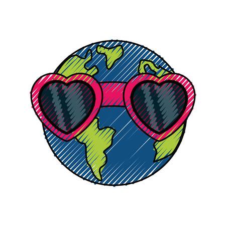 Planeta earh icono de dibujos animados ilustración vectorial diseño gráfico Foto de archivo - 81066183
