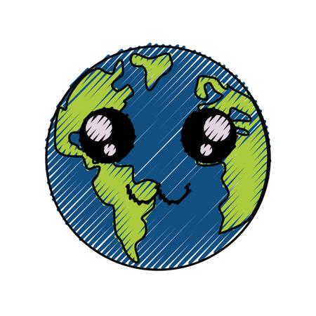 Planeta tierra icono de dibujos animados ilustración vectorial diseño gráfico Foto de archivo - 81067370