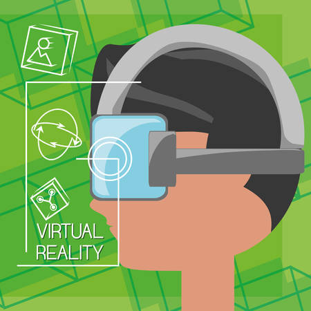 simulator: virtual reality game with futuristic technology innovation vector illustration