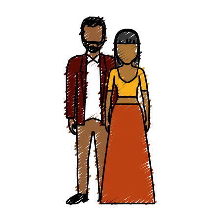 Couple wearing elegant clothes icon over white background colorful design vector illustration Illustration