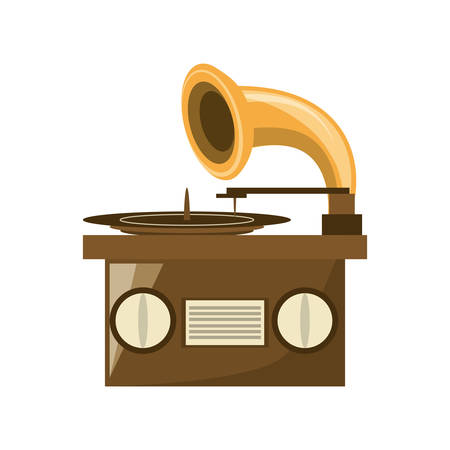 plater: Grapmophone old music player icon vector illustration graphic design