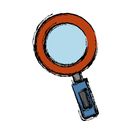 inquire: A magnifying glass icon over white background vector illustration