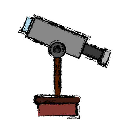 observation: A telescope icon over white background vector illustration