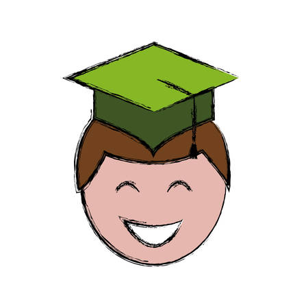 A man with graduation cap icon over white background colorful design vector illustration