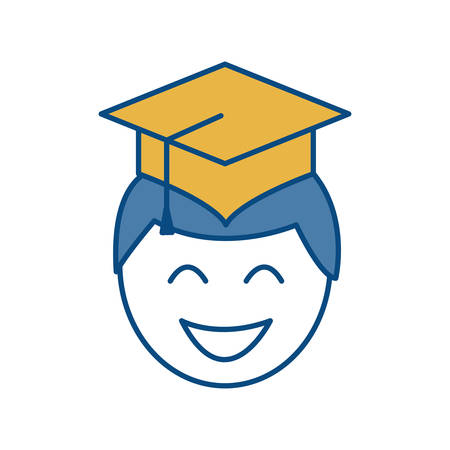 finishing: man with graduation cap icon over white background colorful design vector illustration Illustration