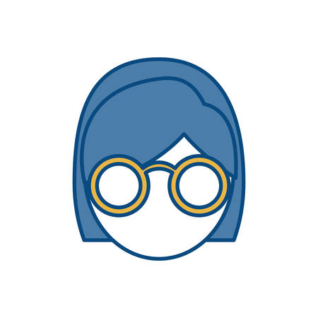 assortment: woman with glasses icon over white background colorful design vector illustration