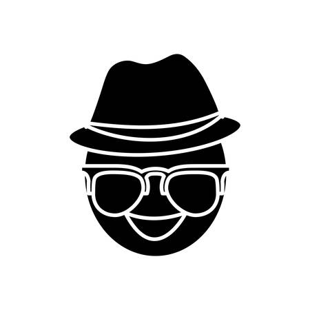 assortment: man with glasses and hat icon over white background vector illustration Illustration