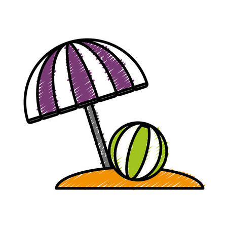 A beach parasol and ball icon over white background colorful design vector illustration.