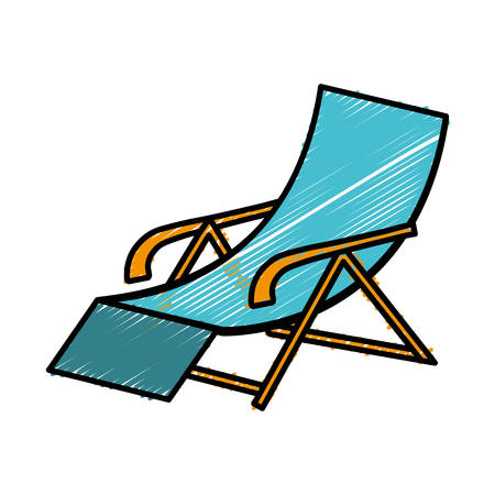 beach chair icon over white background colorful design vector illustration