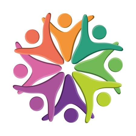 modern business: Abstract human figures in circle shape colorful design vector illustration