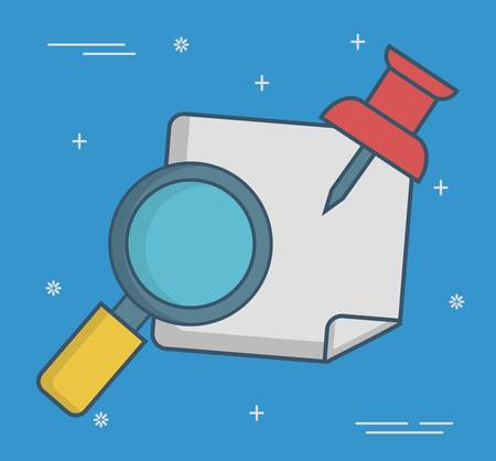 inspect: magnifying glass icon over blue background colorful design vector illustration