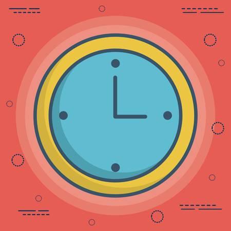 urgency: clock icon over red background colorful design vector illustration Illustration