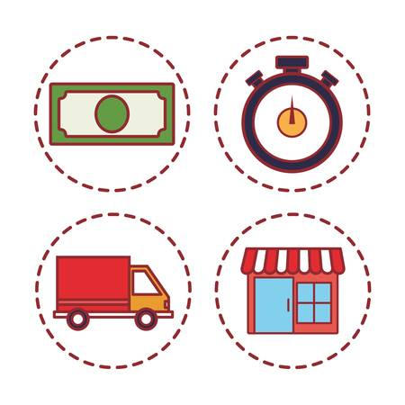 delivery related icons over white background vector illustration