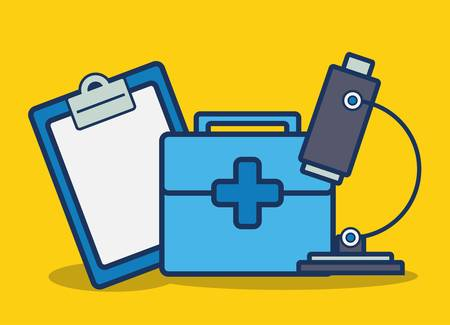 microscope and first aid kit icon over yellow background colorful design vector illustration