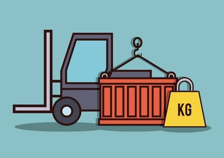 forklift truck, container and weight icon over blue background colorful design vector illustration Illustration