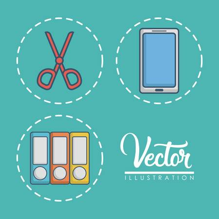 working place: office elements related icons over blue background colorful design vector illustration Illustration