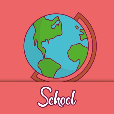 geography tool icon over red background. colorful design. vector illustration