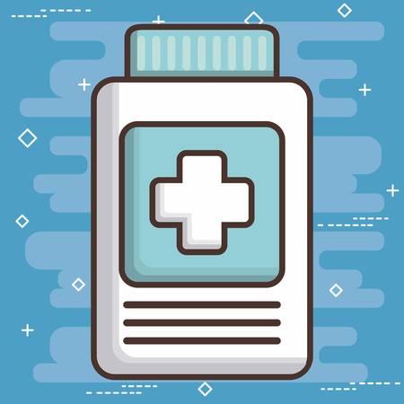 urgency: medicine bottle icon over blue background colorful design vector illustration Illustration