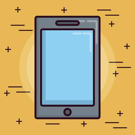 responsive: smartphone device icon over yellow background colorful design vector illustration