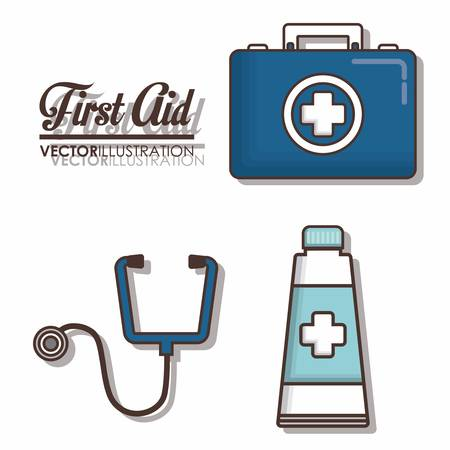 urgency: first aid related icons over background colorful design vector illustration