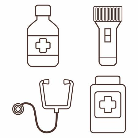 urgency: first aid related icons over white background vector illustration