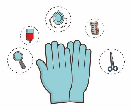 gloves with first aid elements around over white background colorful design vector illustration