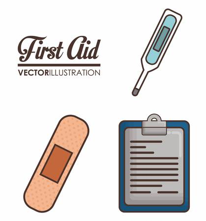first aid related icons over background colorful design vector illustration