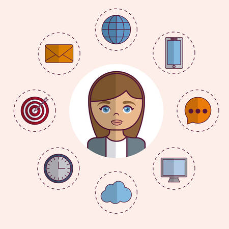 woman with digital marketing related icons around over white background colorful design vector illustration Illustration