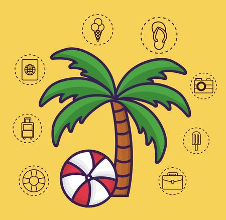 float fun: travel time related icons over yellow background colorful design vector illustration Illustration