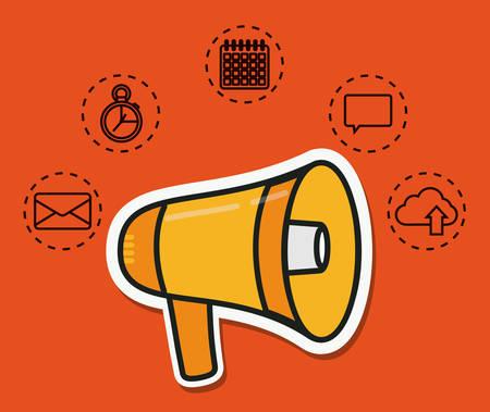 megaphone and digital marketing related icons over orange background colorful design vector illustration