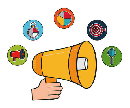 information medium: megaphone and digital marketing related icons over white background colorful design vector illustration