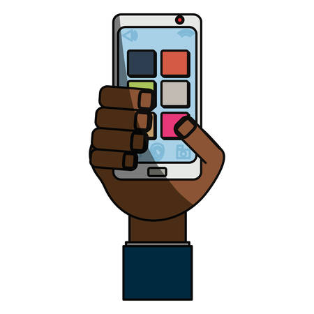 using smart phone: isolated hand smartphone cellphone icon vector illustration graphic design