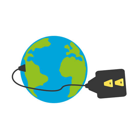 isolated earth electric plug icon vector illustration graphic design