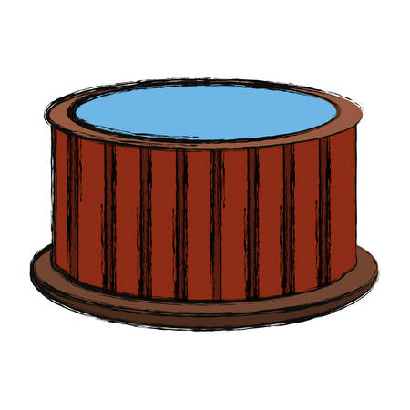 Wooden jacuzzi spa icon vector illustration graphic design