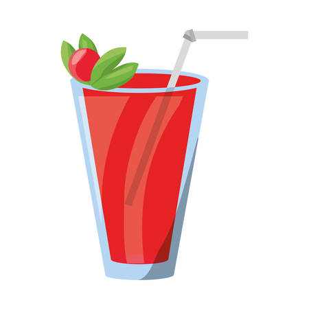 cherry wood: Delicious and fresh juice icon vector illustration graphic design