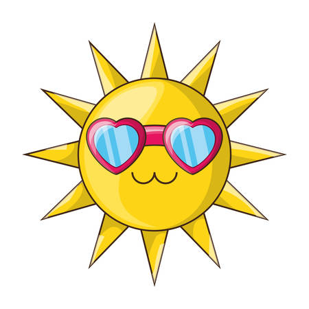 Sun funny cartoon icon vector illustration graphic design