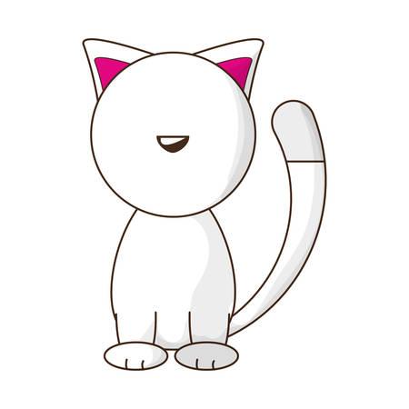 shadowed: Cute cat cartoon icon vector illustration graphic design Illustration