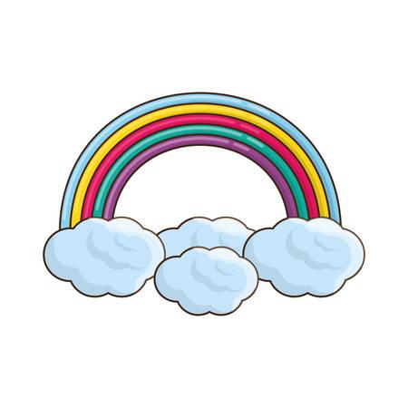 shadowed: Beautiful rainbow cartoon icon vector illustration graphic design Illustration