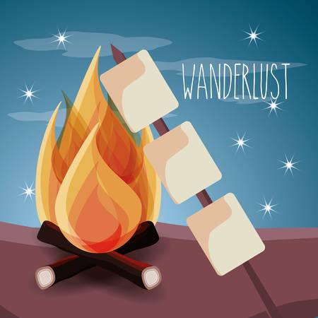 wanderlust aventure with landscape and explorer nature vector illustration