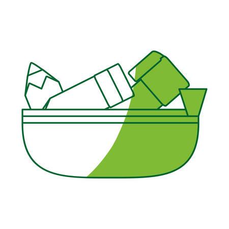 school pencil case icon vector illustration graphic desing